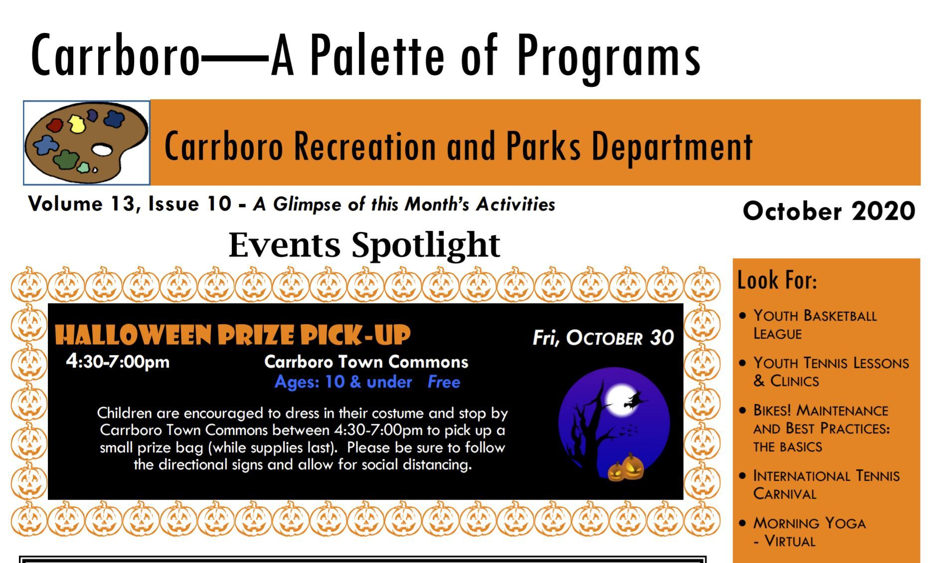 Carrboro Recreation Newsletter Oct 2020